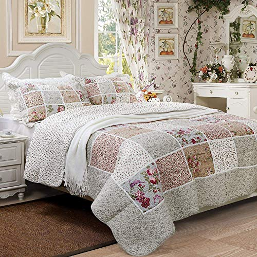 Brandream Queen Size Farmhouse Bedding Vintage Bedding Sets Girls Patchwork Quilted Bedspread Cotton Quilts Set Cotton