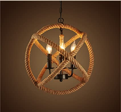 Ting-W 3-lights Hemp Rope Ball Chandelier Retro Country Style ...
