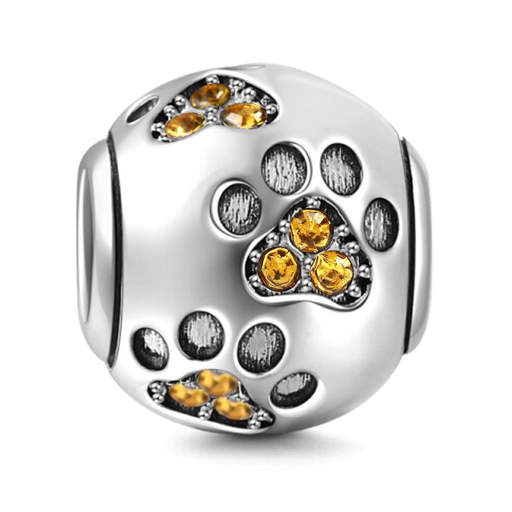 Zampe di cane animale Birthstone Crystal charm in argento 925/ciondoli per European bracciale serpente Yellow