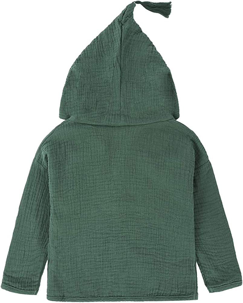Kids Tales Baby Boys Girl Cotton Linen Long Sleeve Hooded Coat Jacket Outerwear