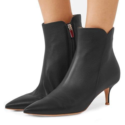 23eedbdd762 Ydn women dressy kitten low heel ankle boots pointed toe booties shoes with  zips black jpg