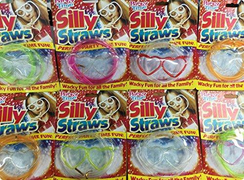 8 PACK Novelty Flexible Soft Glasses Silly Drinking Straw Sip 'N Swirl Eyeglasses Straw glasses (heart) ()