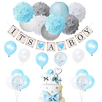 Amazoncom Baby Shower Decorations For Boy Blue And Gray With Its