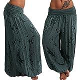Women Yoga Pants, Elastic Waist Boho Check Baggy Wide Leg Casual Yoga Capris Pants by-NEWONESUN