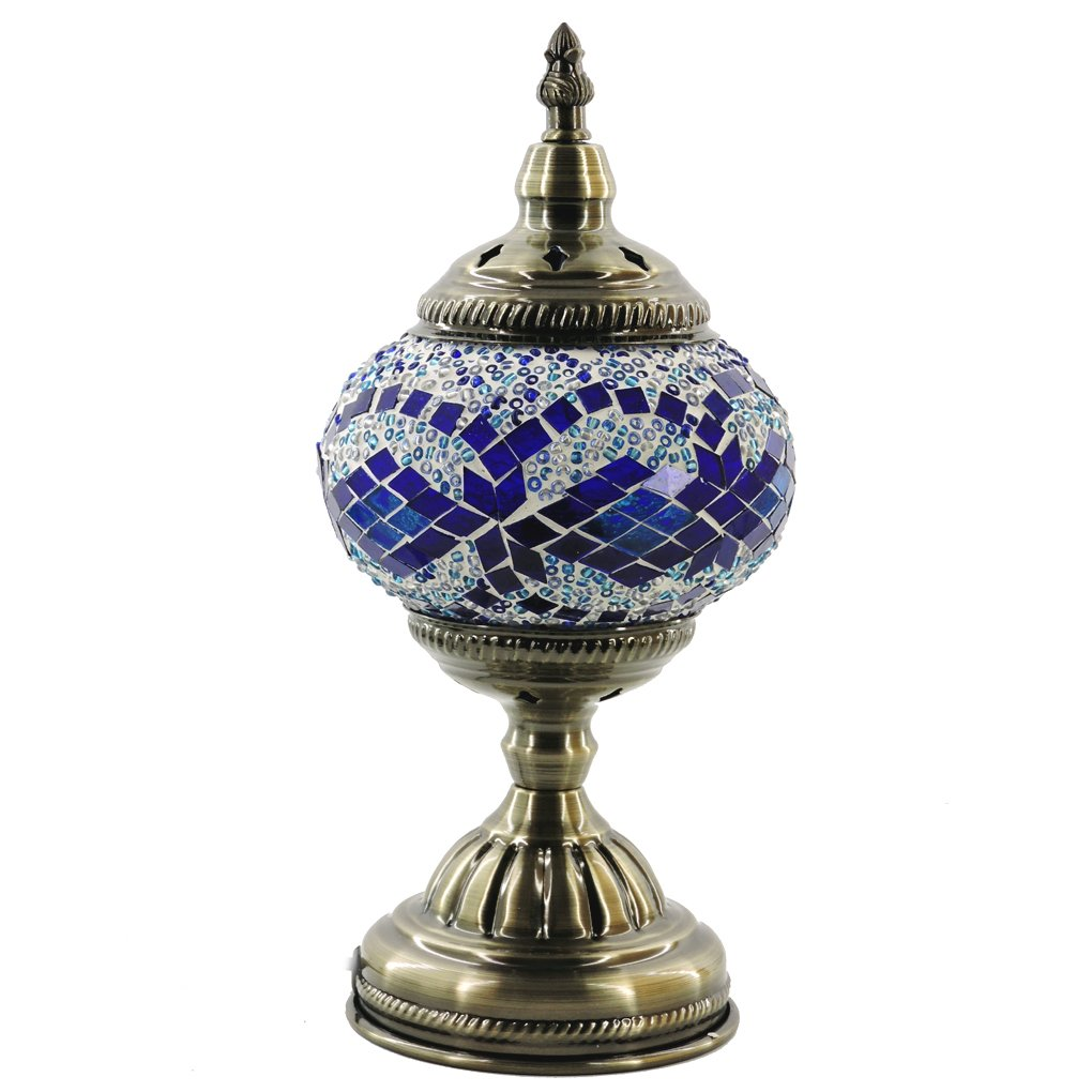 (シルバーフィーバー) SILVERFEVER手作りモザイクトルコランプ - モロッコガラス - テーブル/デスク/ベッドサイド用照明-ブロンズベース マルチカラー M1001 B06WLPHQCJ 29211 青い波 青い波