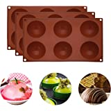 IEsafy 6 Holes Silicone Mold for Chocolate, Baking Mold for Making Hot Chocolate Bomb,Cake, Jelly, Pudding, Non Stick Round S