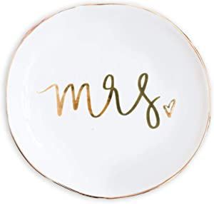 Sweet Water Decor Jewelry Dish Tray | Great for His and Her Engagement Engaged Ring Dish Holder Bride Ring Holder Gold Ceramic Trinket Tray Wedding Accessories (Mrs.)