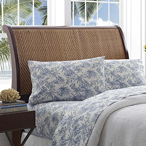 Cotton Toile Sheet Set (Tommy Bahama Pen and Ink Palm Sheet Set, Queen, Indigo)