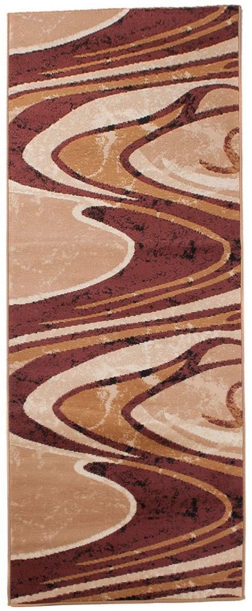 Tapiso Dream Läufer Teppich Flur Brücke Modern Wellen Streifen Linien Abstrakt Muster in Braun Beige Designer Wohnzimmer ÖKOTEX 120 x 260 cm