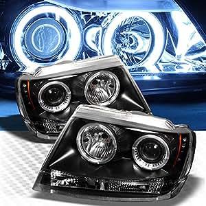 ccfl halo led 1999 2004 jeep grand cherokee projector headlights black head lights. Black Bedroom Furniture Sets. Home Design Ideas