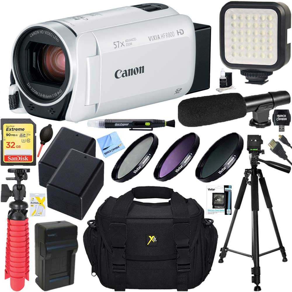 Canon VIXIA HF R800 Camcorder with 57x Advanced Zoom (White) + 32GB SD Card & Deluxe Microphone Accessory Bundle by Canon