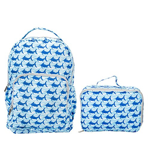 Blue Marlin Fish - Blue Wave Marlins Reinforced Water Resistant Backpack and Lunch Bag 2 Piece Set