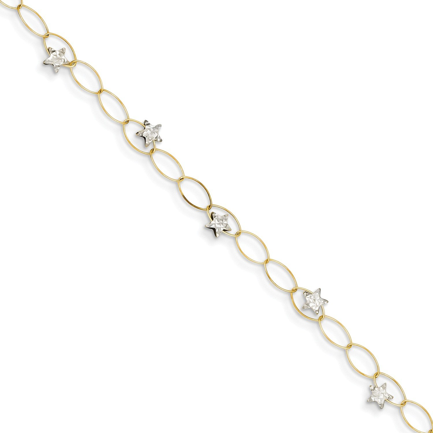 Roy Rose Jewelry 14K Two-tone Gold Puff Stars Bracelet ~ Length 7.25'' inches