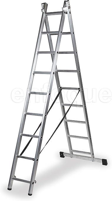 ALTIPESA Escalera Profesional de Aluminio transformable Apoyo-Tijera con Base un Acceso 2 x 9 peldaños Serie bis: Amazon.es: Hogar