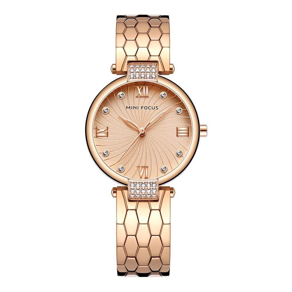 Spiralmuster Damenuhren Damen Für Strass Exquisit Armbanduhren Edelstahlband Römische Zahlen dCoexBr