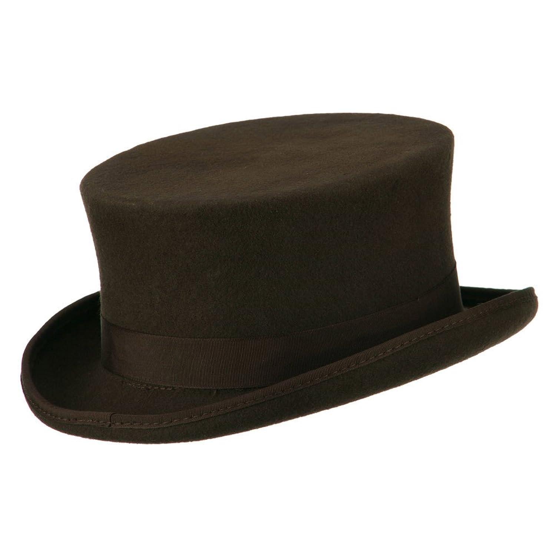 Deluxe Adult Costumes - Men's brown wool felt short top hat.