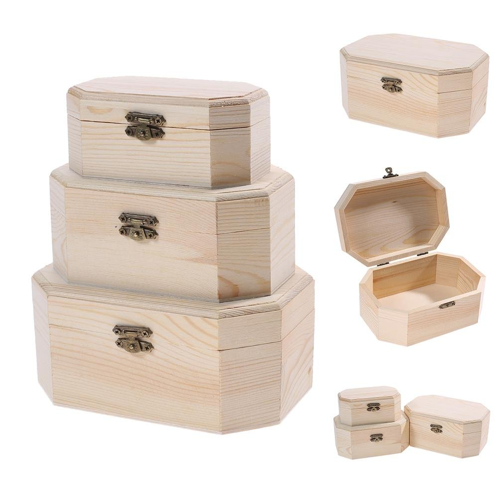HighPlus 3X Octagonal Wooden Pirate Treasure Chest Wood Storage Decoupage Craft Box by HighPlus (Image #7)