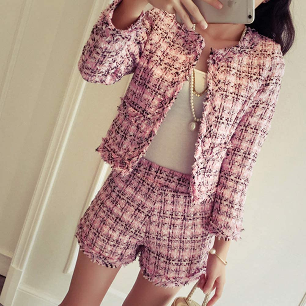 Damen 2 St/ücke Shorts Set Langarm Tweed Plaid Blazer Jacke und Kurz Set Outfit