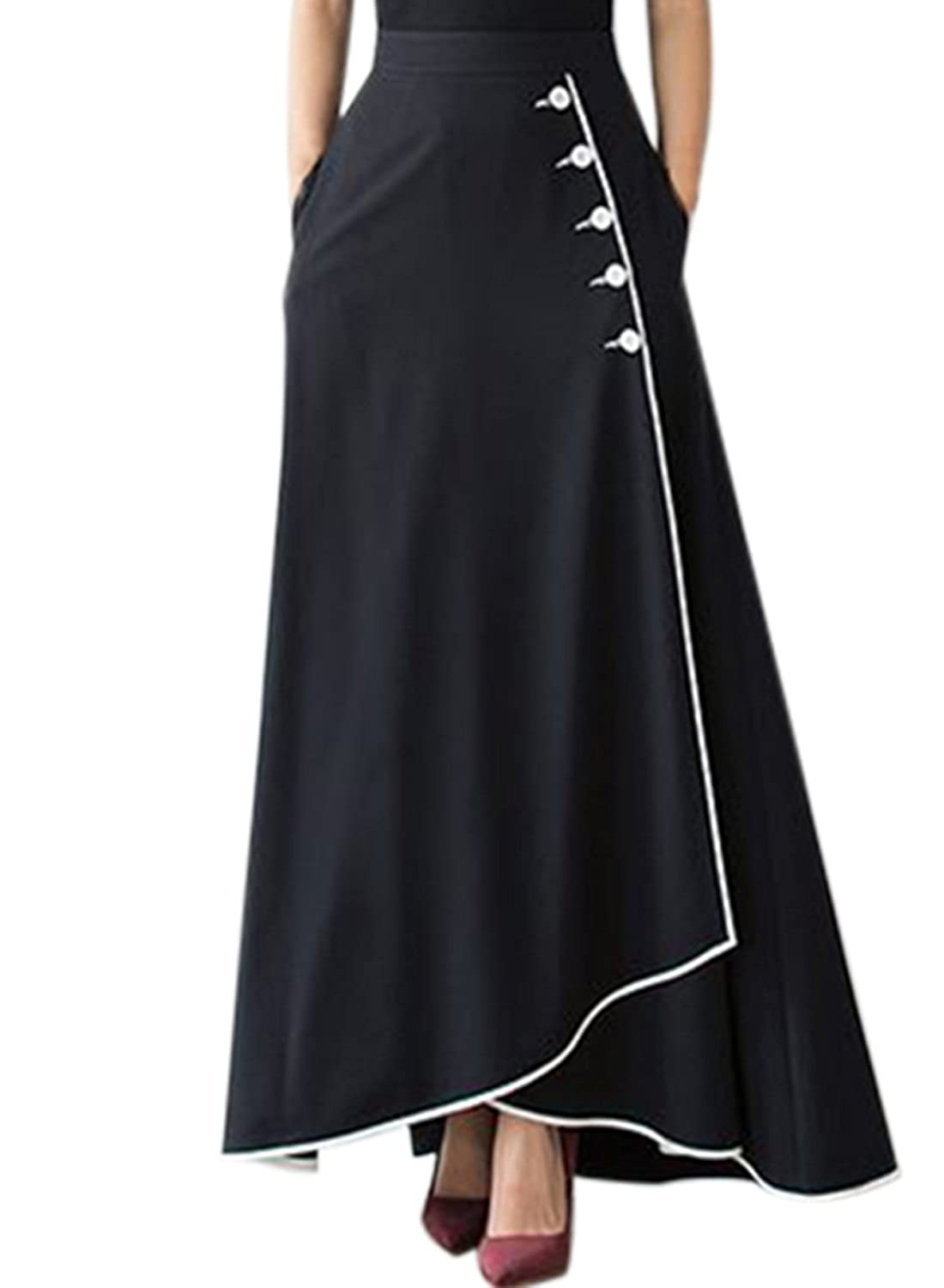 Lovely LOSRLY Women Retro High Waist Front Buttons A Line Swing Maxi Long Skirt  Ankle Length