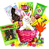 Classic Easter Gift Basket - Premade and Shrink-Wrapped, Kids, Boys, Girls - Filled with Candy, Chocolate, Toys, and More!!