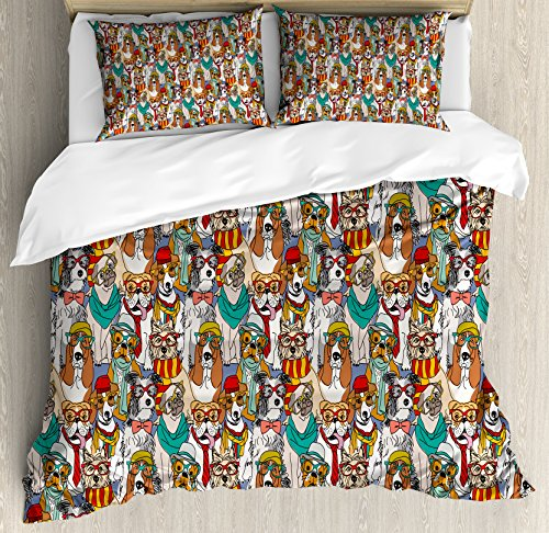 Ambesonne Dog Duvet Cover Set, Hipster Bulldog Schnauzer Pug Breeds with Glasses Hats Scarf Pattern Colorful Cartoon, Decorative 3 Piece Bedding Set with 2 Pillow Shams, Queen Size, Teal - Scarf Pattern Set