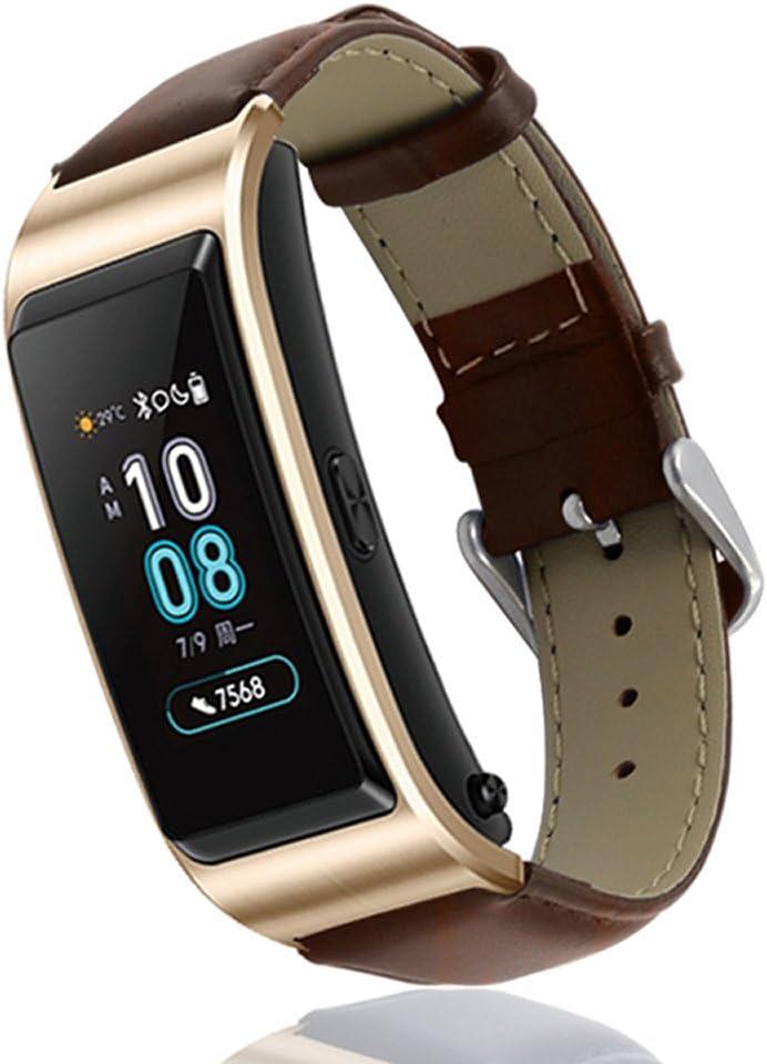 KOMI Correa de reloj para Huawei Talkband B5, correa de repuesto de cuero para mujer para hombre Fitness Sport Wristband (marrón)