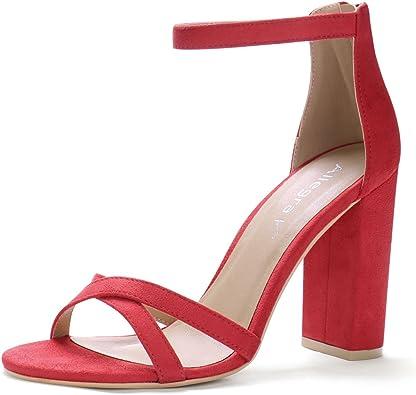 Cross Front Ankle Strap Block Heels