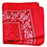 Paisley One Dozen Cowboy Bandanas (Red, 22 X 22 in)
