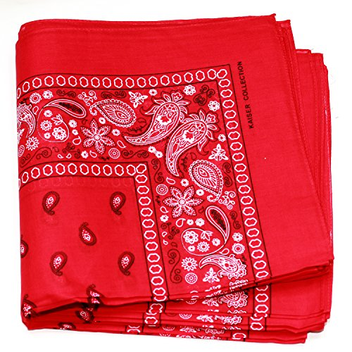 - Paisley One Dozen Cowboy Bandanas (Red, 22 X 22 in)