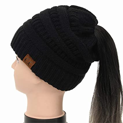 KCJDKW UEN Soft Knit Ponytail Beanie Warm Winter Hats for Women Beanie Hat  Stretch Cable Messy Bun 5b7e39f62dc