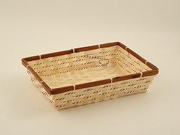 Vassoi In Legno Fai Da Te : Cestino vassoio in legno chiaro e scuro 38x28x9cm: amazon.it: fai da te