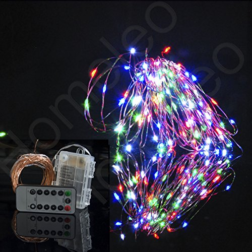 Outdoor String Lights With Remote : Homeleo 10 Meters 100 LEDs Battery Operated Christmas String Lights w/ Remote Wireless Dimmable ...