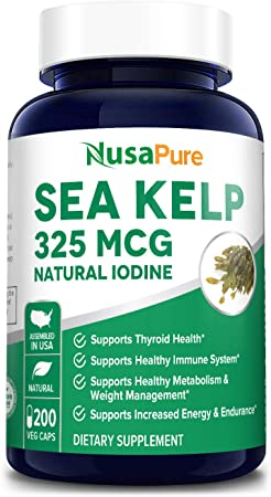 Sea Kelp 325mcg 200 Veggie Capsules ( Non-GMO & Gluten Free, Made with Organic kelp) Supports Thyroid Health* Supports Healthy Weight and Energy*