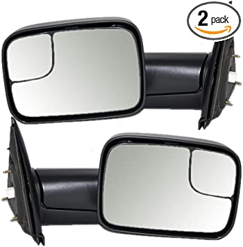 Driver and Passenger Power Side Trailer Tow Flip-Up Mirrors Heated Replacement for Dodge 7x10 Pickup Truck 55077445AO 55077444AO