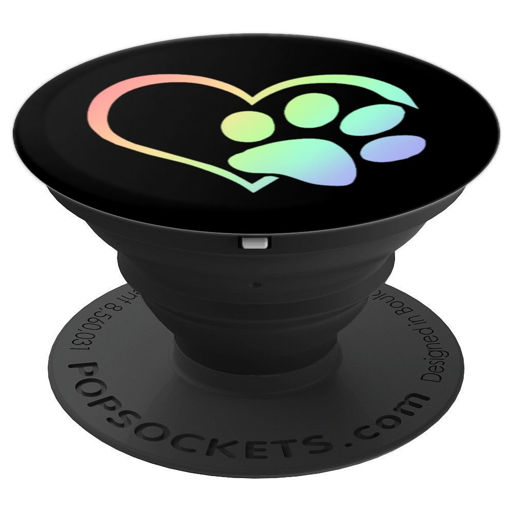 Paw Print Pet Owner Lover Heart Cat Dog Retro Rainbow - PopSockets Grip and Stand for Phones and Tablets