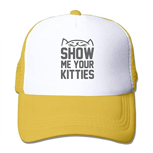 HATS-1 Retro Show Me Your Kitties Mesh Black Baseball Cap Fish ... 97758105ea2