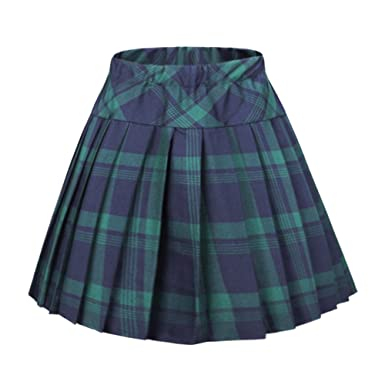 Urban CoCo Women's Elastic Waist Tartan Pleated School Skirt at ...