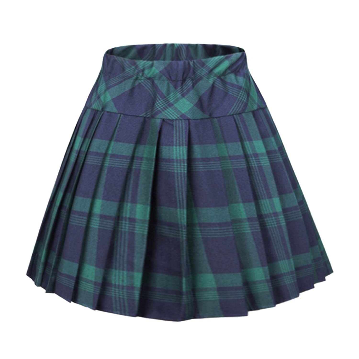 2b0cfd9f5318d Women s Elastic Waist Tartan Pleated School Skirt