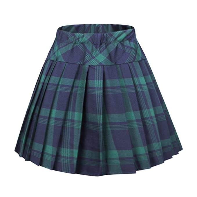 9b257cca3811 Urban CoCo Women's Elastic Waist Tartan Pleated School Skirt (Small, Series  1 Green)