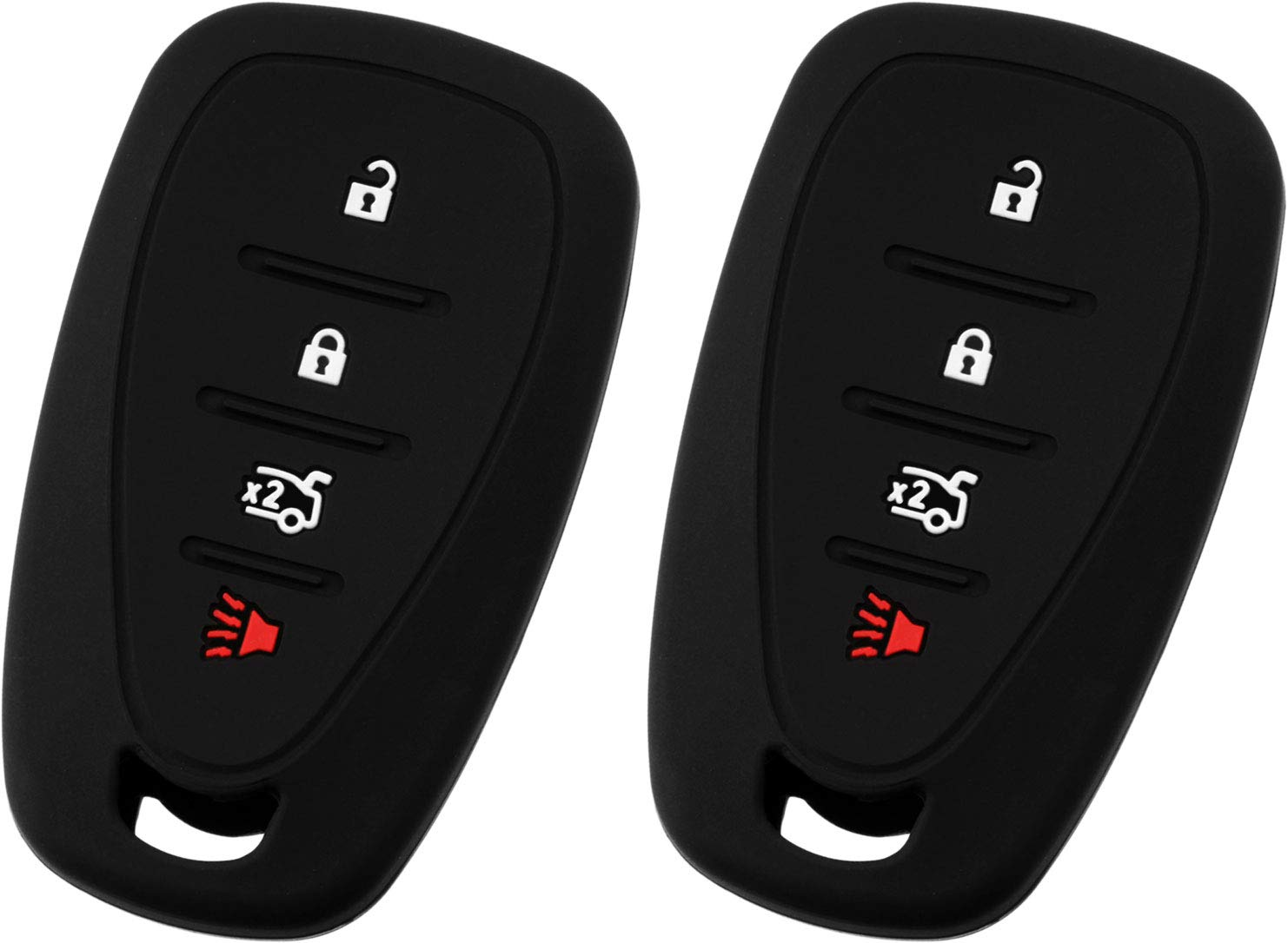 Pack of 2 KeyGuardz Keyless Entry Remote Car Smart Key Fob Outer Shell Cover Soft Rubber Protective Case for Chevy Volt Bolt Sonic Spark HYQ4EA KeylessOption