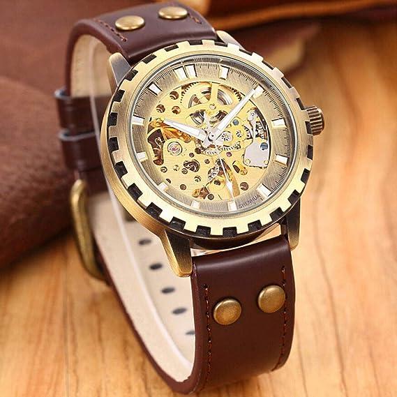 HWCOO Relojes mecánicos Reloj Shenhua / 9560 de Engranajes de Bronce mecánico para Hombre. (