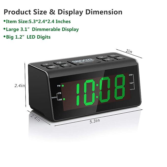 Amazon.com: Radio despertador digital con radio AM/FM ...