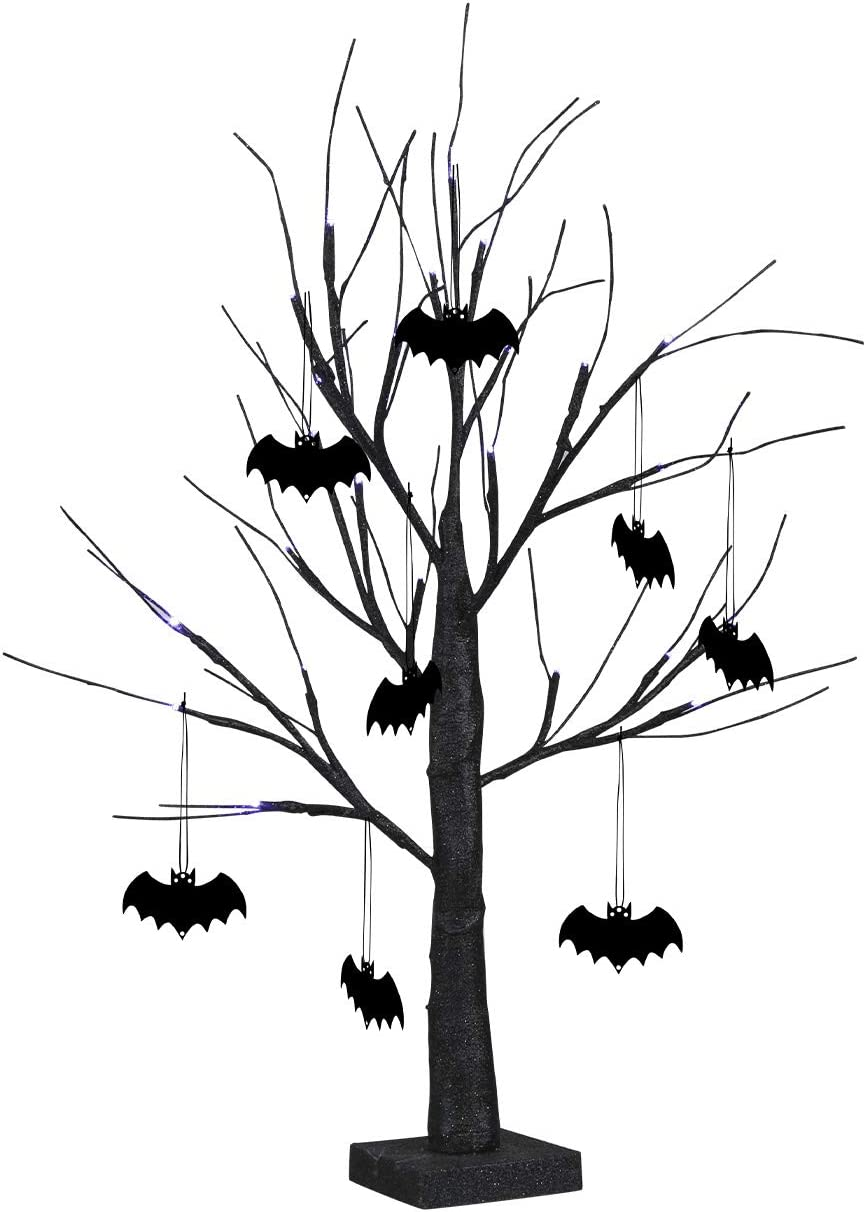 EAMBRITE 2FT Black Glitter Spooky Tree Lights with 24 LED Purple Lights and 8 Pcs Black Bat Accessories for Halloween Decoration Battery Operated Indoor Decoration(UL Certified)