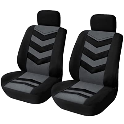 TIROL Universal Car Seat Protectors Black Gray 2 Front Seat Covers Air Mesh Fit Most Car SUV Sedans Pair: Automotive