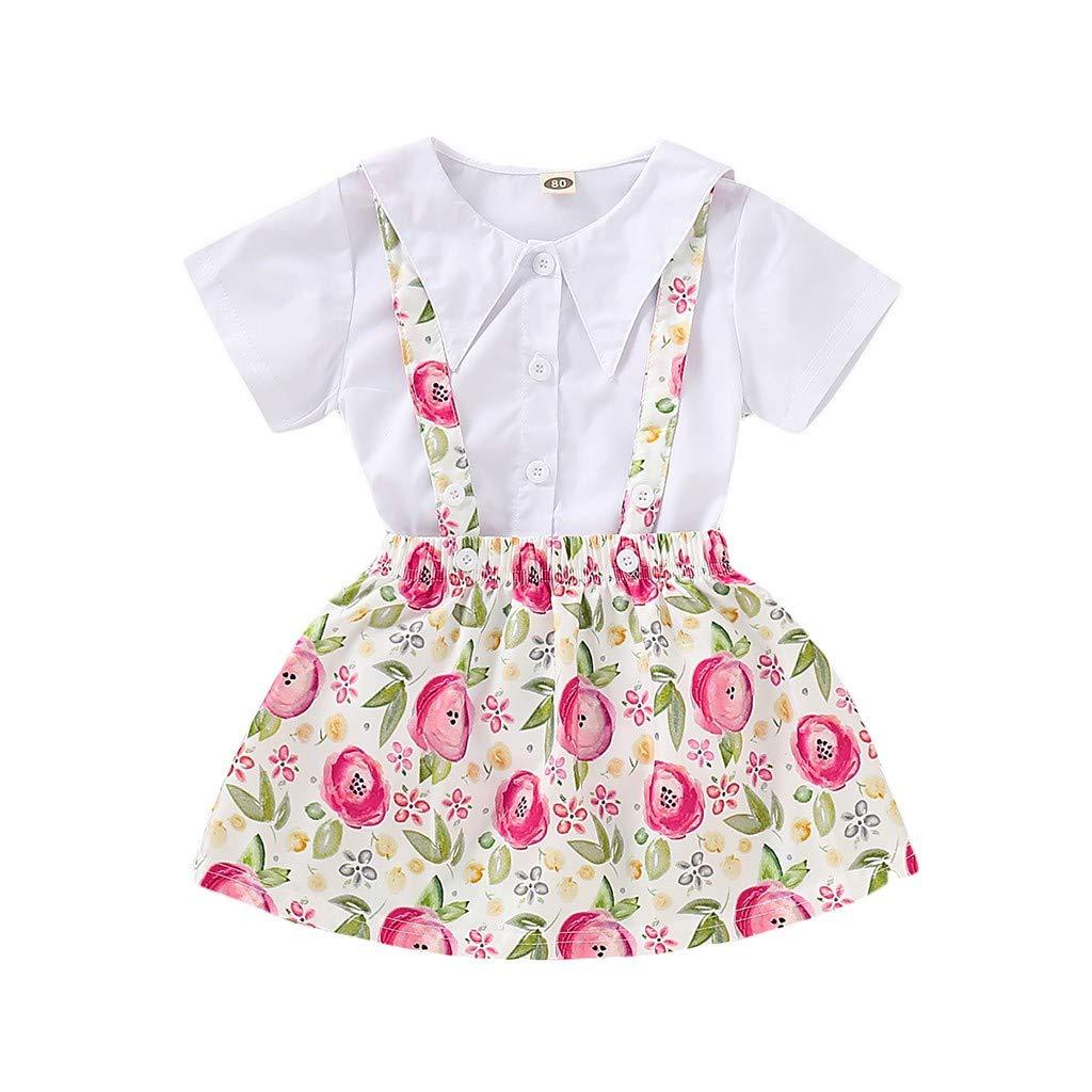 NUWFOR Children Kids Girls Short Sleeve Shirts Tops+Flower Print Suspender Skirt Set(White,3-4 Years)