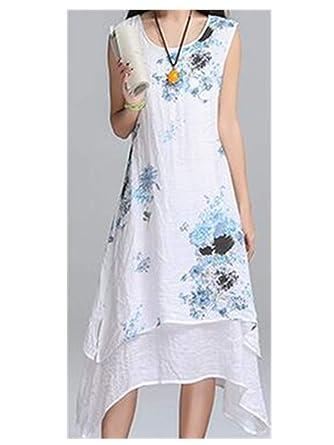 Summer Dress Sleeveless Women Dress Casual Cotton Linen Dress Plus Size Vestidos De Festa at Amazon Womens Clothing store:
