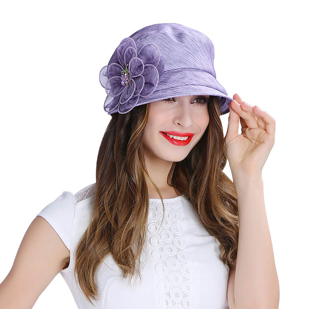 ESOCOME Fisherman's Hat Purple Spring and Summer Sunhat Silk Women's Hat purple Flower Female Hat