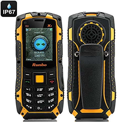 Runbo X1 Rugged Bar Phone - IP67, Quad Band GSM, Walkie Talkie, 2 ...