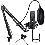 Microphone 25mm Large Diaphragm MAONO A425 Plus Cardioid Condenser USB Microphone with Two Metal Stand for Podcasting, Gaming, Recording, Streaming, YouTube, PC, Computer