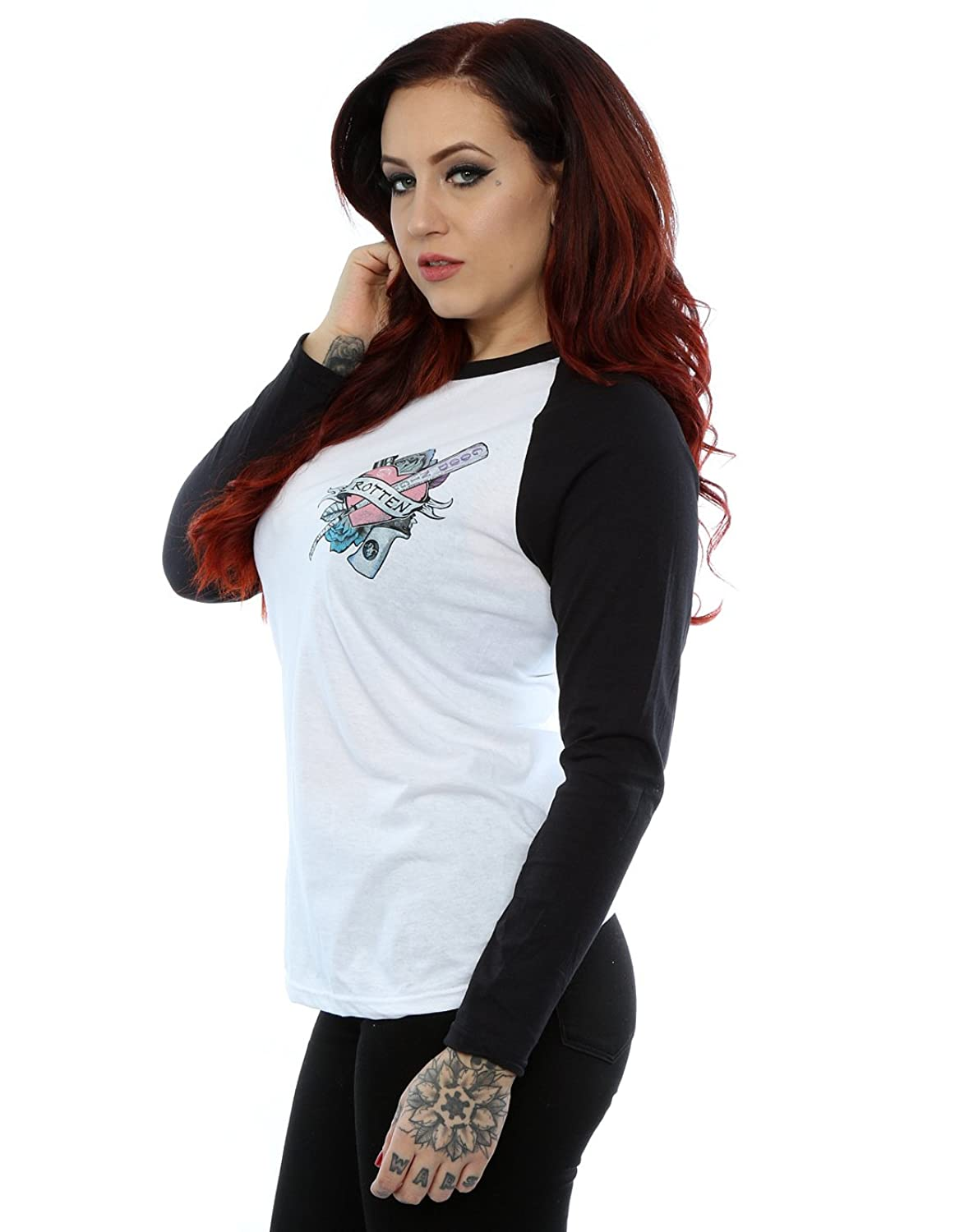 Suicide Squad Women's Harley Quinn Rotten Long Sleeved Baseball Shirt:  Amazon.co.uk: Clothing
